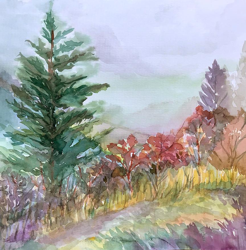 Watercolor painting overlooking Blue Ridge Parkway