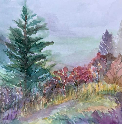 Watercolor painting Overlooking the Blue Ridge Mountains