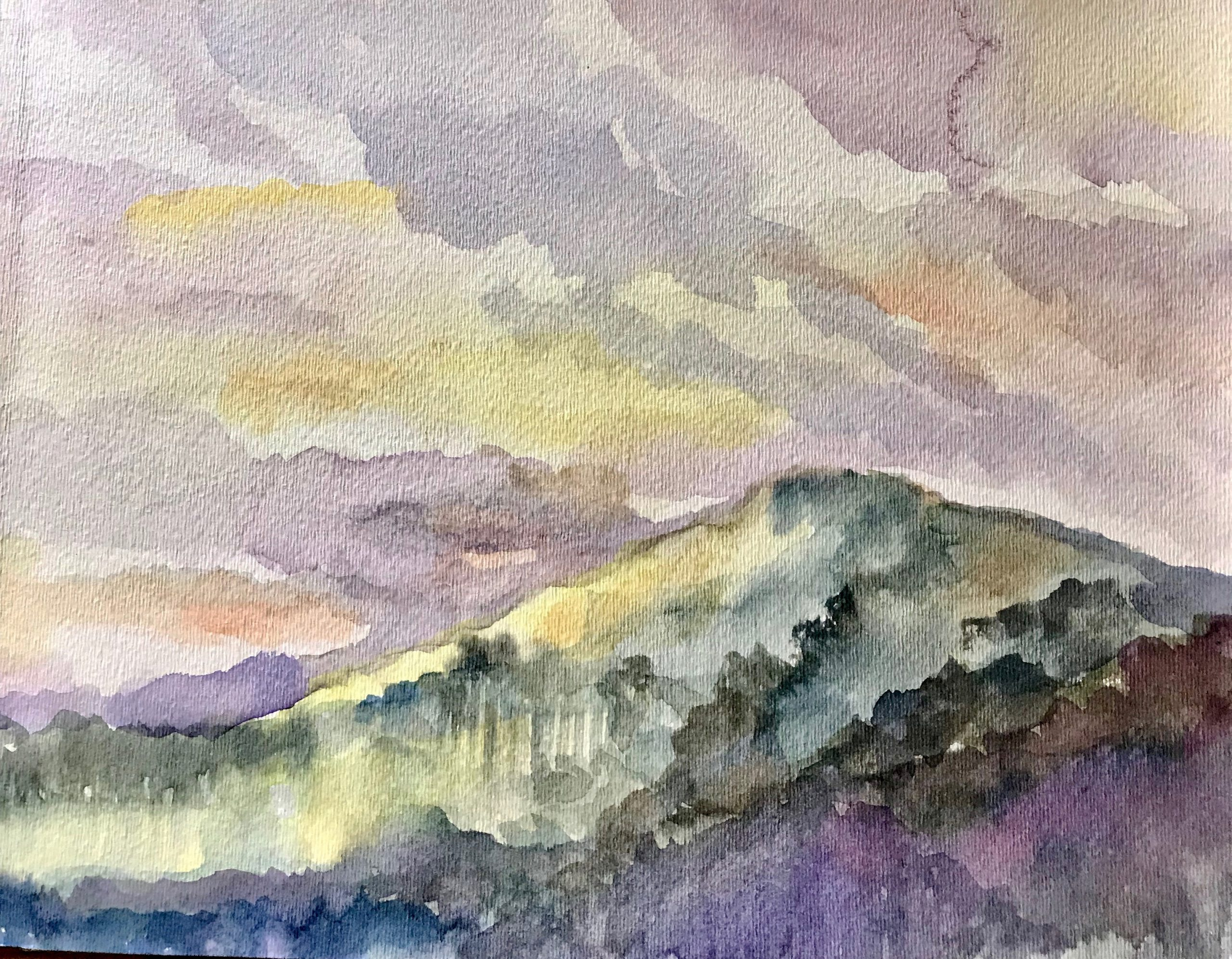 Watercolor painting Porch with a View