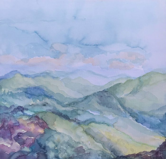Watercolor painting Rainshower Clouds