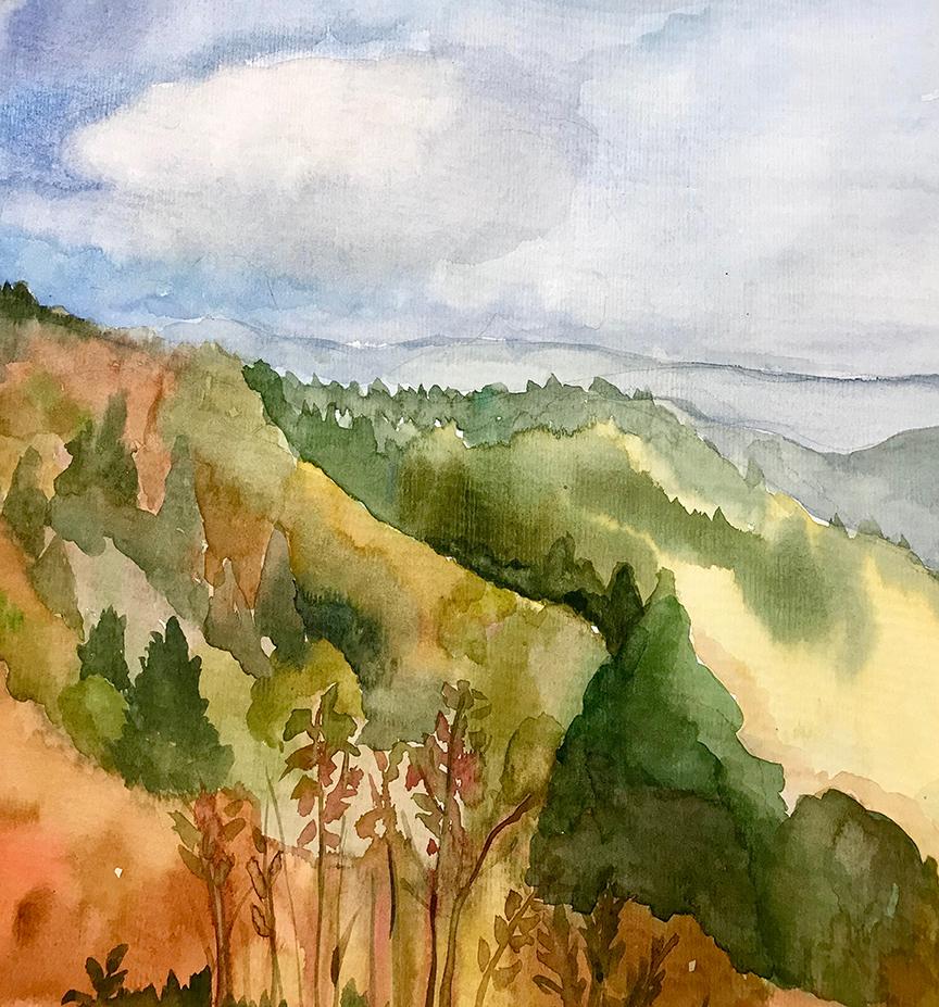 Watercolor painting Waterrock Knob