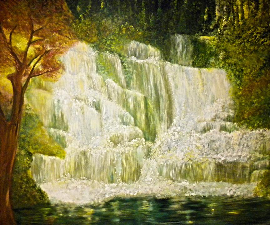 Mural Cascading Waterfalls