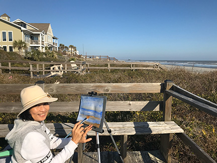 Painting en plein aire at Folley Beach