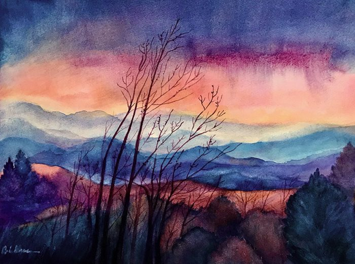 layers of colors across the Blue Ridge sunset