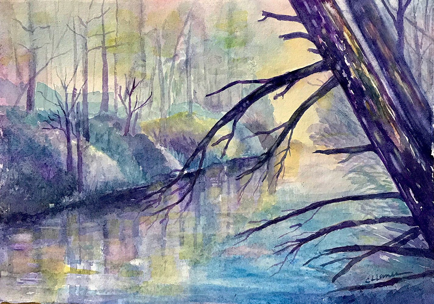 French Broad River watercolor painting in Springtime